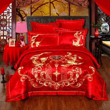 60S全棉贡缎绣花提花四件六件八件套系列 大红婚庆