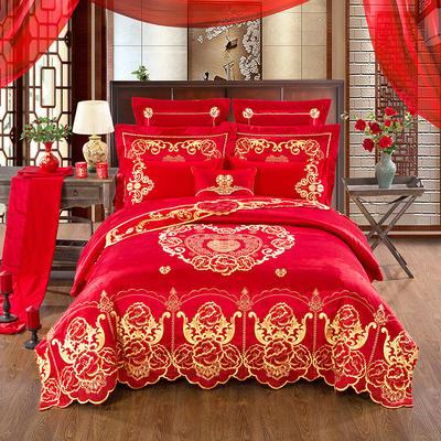 60S全棉贡缎绣花提花四件六件八件套系列 大红婚庆 标准号四件套 皇家恋人