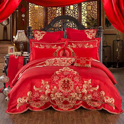 60S全棉贡缎绣花提花四件六件八件套系列 大红婚庆 标准号四件套 皇家牡丹