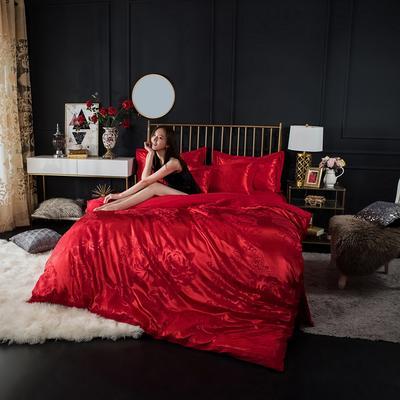 全棉优卡丝贡缎提花四件套 大红婚庆喜庆系列 标准号(适合1.5-1.8米床) 晨缘幽香-大红