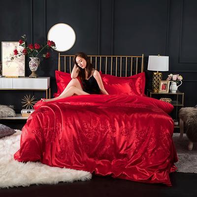 全棉优卡丝贡缎提花四件套 大红婚庆喜庆系列 标准号(适合1.5-1.8米床) 花颜-大红