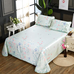 250D水洗冰丝席床单款 凉席可折叠可机洗水洗三件套 250x250cm(枕套一对) 爱情花语