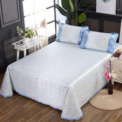 250D水洗冰丝席床单款 凉席可折叠可机洗水洗三件套 250x250cm(枕套一对) 花香四溢