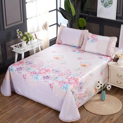 250D水洗冰丝席床单款 凉席可折叠可机洗水洗三件套 250x250cm(枕套一对) 花意满枝