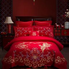 60S全棉贡缎绣花提花四件六件八件套系列 大红婚庆 加大号四件套 龙凤吉祥