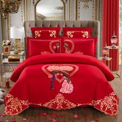 60S全棉贡缎绣花提花四件六件八件套系列 大红婚庆 标准号七件套 甜蜜盛典