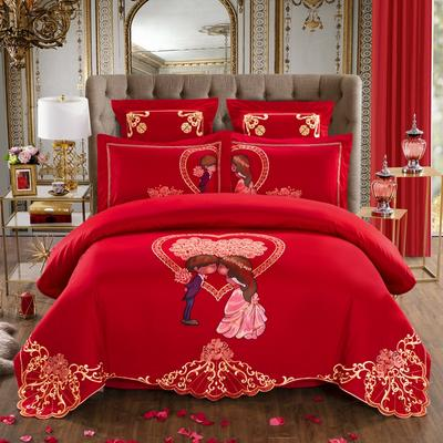 60S全棉贡缎绣花提花四件六件八件套系列 大红婚庆 标准号四件套 甜蜜盛典