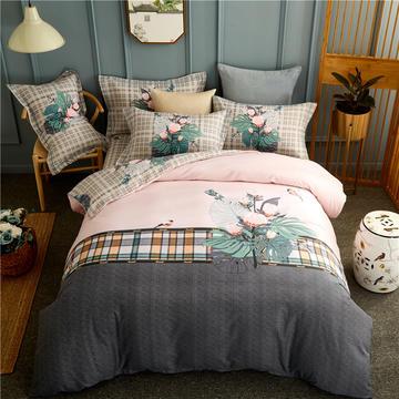 全棉生态磨毛大版花四件套 加厚秋冬季纯棉床单被套保暖床上用品