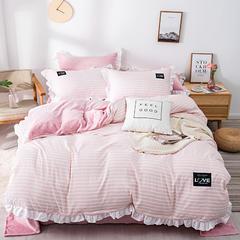 花边贴布绣四件套 水洗磨毛+法莱绒 棉加绒系列 标准号(适用1.5-1.8米床) 简尚条纹-粉