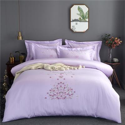 60支全棉婚庆贡缎提花绣花欧式四件套 1.8m(6英尺)床 邂逅-香芋紫