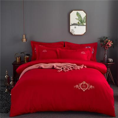 60s长绒棉绣花四件套 全棉高支纯色欧式婚庆大红套件 标准号(适用200x230被芯) 提可达-大红