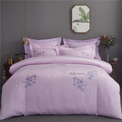 60支全棉婚庆贡缎提花绣花欧式四件套 1.8m(6英尺)床 素馨-浅紫