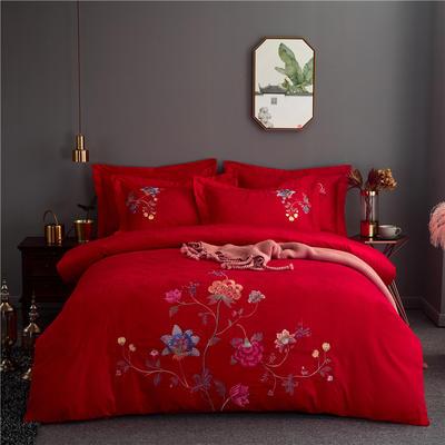 60s长绒棉绣花四件套 全棉高支纯色欧式婚庆大红套件 标准号(适用200x230被芯) 素馨-大红