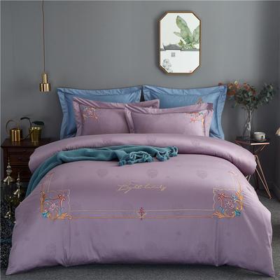 60s长绒棉绣花四件套 全棉高支纯色欧式婚庆大红套件 标准号(适用200x230被芯) 黛安娜-烟灰紫