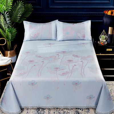 2019春夏新款凉席 600D可水洗冰丝凉席床单款 250x250cm 那年花开
