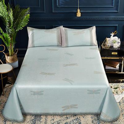 2019春夏新款凉席 600D可水洗冰丝凉席床单款 250x250cm 蜻蜓绿