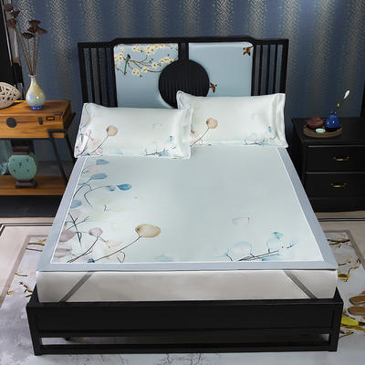 600D数码印花冰丝席平铺款(绑带可调节) 1.5m(5英尺)床 花枝墨染
