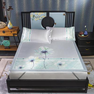 600D数码印花冰丝席平铺款(绑带可调节) 1.5m(5英尺)床 浅夏诗韵