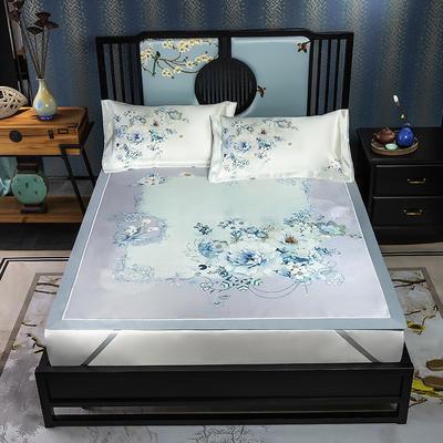 600D数码印花冰丝席平铺款(绑带可调节) 1.5m(5英尺)床 月夕幽窗