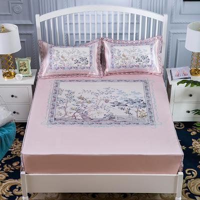 600D冰丝席床包床笠款凉席三件套 1.5m(5英尺)床 风起长林-粉