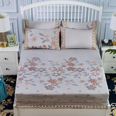 600D冰丝席床包床笠款凉席三件套 1.5m(5英尺)床 花颜自赏-咖