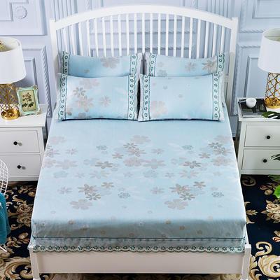 600D冰丝席床包床笠款凉席三件套 1.5m(5英尺)床 花颜自赏-绿