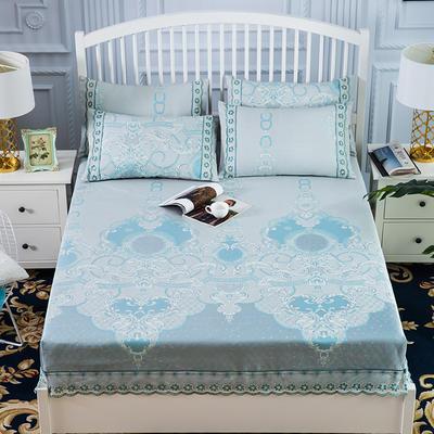 600D冰丝席床包床笠款凉席三件套 1.5m(5英尺)床 浅耀星海