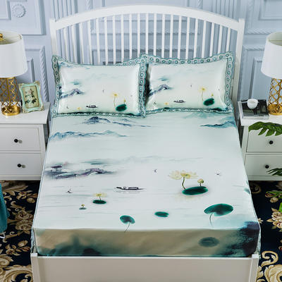 600D冰丝席床包床笠款凉席三件套 1.5m(5英尺)床 烟波琉璃