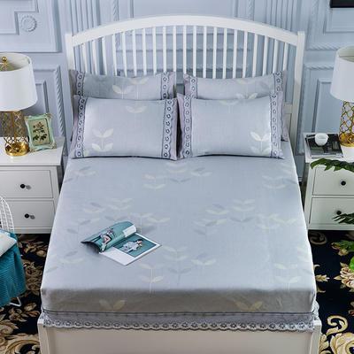 600D冰丝席床包床笠款凉席三件套 1.5m(5英尺)床 一叶璀璨-银