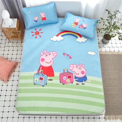 2020年新款 大版数码印花冰丝席 卡通学生儿童凉席三件套 1.2m(4英尺)床 冰丝席-旅行小猪