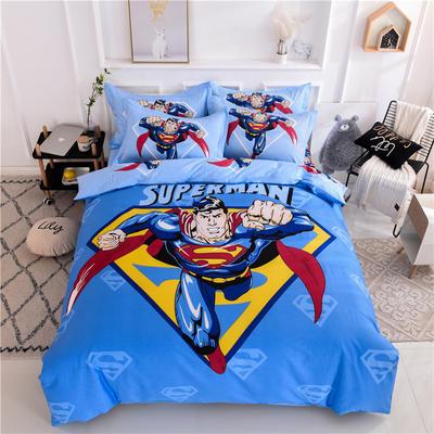 全棉大版卡通四件套 纯棉学生儿童公主小清新三件套床单床笠 小号床单款 超人归来