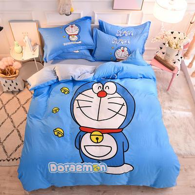 全棉大版卡通棉加绒 全棉加水晶绒法莱绒三四件套 小号床单款(适用0.9-1.35米床) 棉加绒-叮当猫