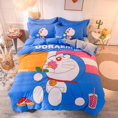 全棉大版卡通棉加绒 全棉加水晶绒法莱绒三四件套 小号床单款(适用0.9-1.35米床) 棉加绒-快乐机器猫