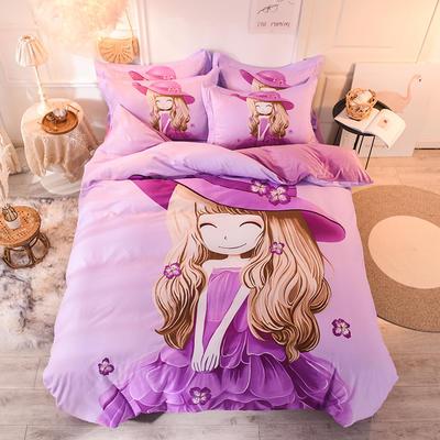 全棉大版卡通棉加绒 全棉加水晶绒法莱绒三四件套 小号床单款(适用0.9-1.35米床) 棉加绒-紫薇姑娘