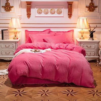 方格魔幻绒系列 水晶绒法莱绒牛奶绒四件套 1.8m(6英尺)床 方格魔幻绒-粉红