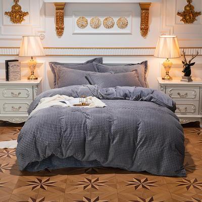 方格魔幻绒系列 水晶绒法莱绒牛奶绒四件套 1.8m(6英尺)床 方格魔幻绒-灰色