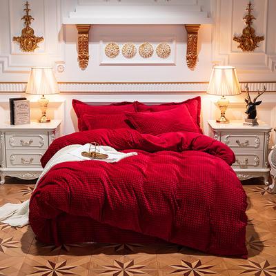 方格魔幻绒系列 水晶绒法莱绒牛奶绒四件套 1.8m(6英尺)床 方格魔幻绒-酒红