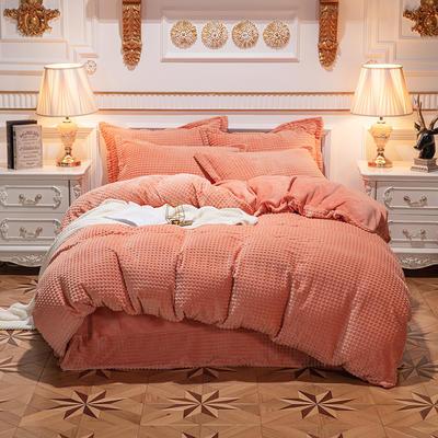 方格魔幻绒系列 水晶绒法莱绒牛奶绒四件套 1.8m(6英尺)床 方格魔幻绒-橘色
