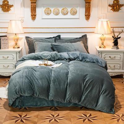 方格魔幻绒系列 水晶绒法莱绒牛奶绒四件套 1.8m(6英尺)床 方格魔幻绒-墨绿