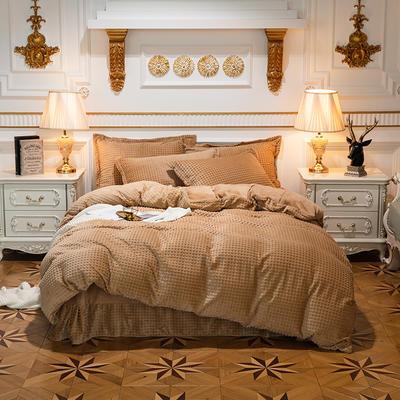 方格魔幻绒系列 水晶绒法莱绒牛奶绒四件套 1.8m(6英尺)床 方格魔幻绒-浅咖
