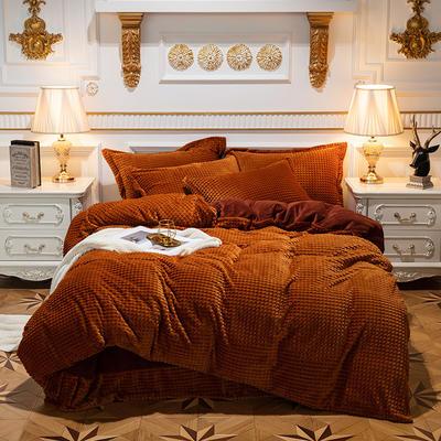 方格魔幻绒系列 水晶绒法莱绒牛奶绒四件套 1.8m(6英尺)床 方格魔幻绒-深咖