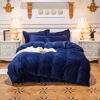 方格魔幻绒系列 水晶绒法莱绒牛奶绒四件套 1.8m(6英尺)床 方格魔幻绒-深蓝