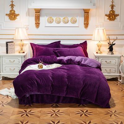 方格魔幻绒系列 水晶绒法莱绒牛奶绒四件套 1.8m(6英尺)床 方格魔幻绒-深紫