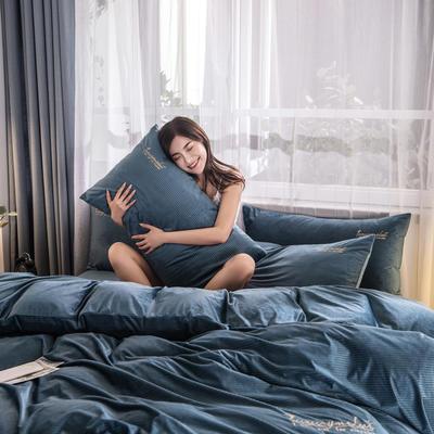 3D绣花荷兰绒系列 刺绣保暖水晶牛奶法莱绒四件套 1.8m(6英尺)床 E1荷兰绒-藏青