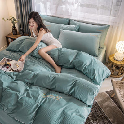 3D绣花荷兰绒系列 刺绣保暖水晶牛奶法莱绒四件套 1.8m(6英尺)床 E8荷兰绒-松石绿