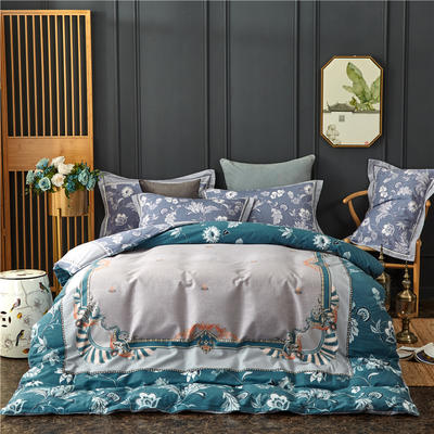 全棉21支加厚生态磨毛四件套 纯棉加厚新中国式风大版印花 1.5m(5英尺)床 埃尔莎-蓝