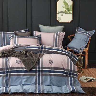 全棉21支加厚生态磨毛四件套 纯棉加厚新中国式风大版印花 1.8m(6英尺)床 弗里斯-蓝