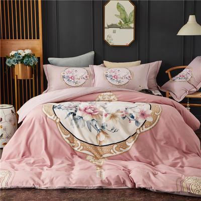 全棉21支加厚生态磨毛四件套 纯棉加厚新中国式风大版印花 1.8m(6英尺)床 瑰丽庄园-粉