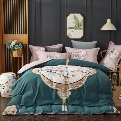 全棉21支加厚生态磨毛四件套 纯棉加厚新中国式风大版印花 1.8m(6英尺)床 瑰丽庄园-蓝