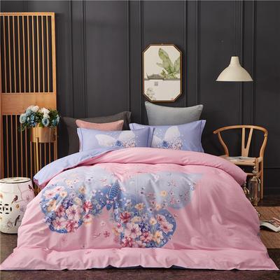 全棉21支加厚生态磨毛四件套 纯棉加厚新中国式风大版印花 1.5m(5英尺)床 花忆时光-粉